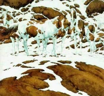 Caballos o monte nevado