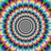 Mirando fijamente al centro se tiene la sensación de que existe un movimiento expansivo.